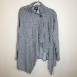 Gray BOBEAU waterfall button front wrap cardigan